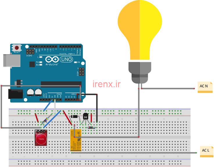 مدار پروژه آردوینو روشن کردن لامپ با لمس