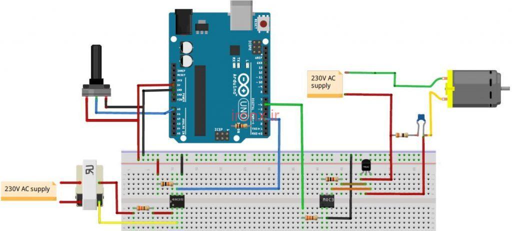 مدار پروژه تغییر سرعت فن AC با آردوینو