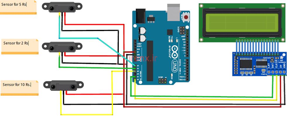 مدار پروژه دستگاه مرتب سازی و شمارنده سکه