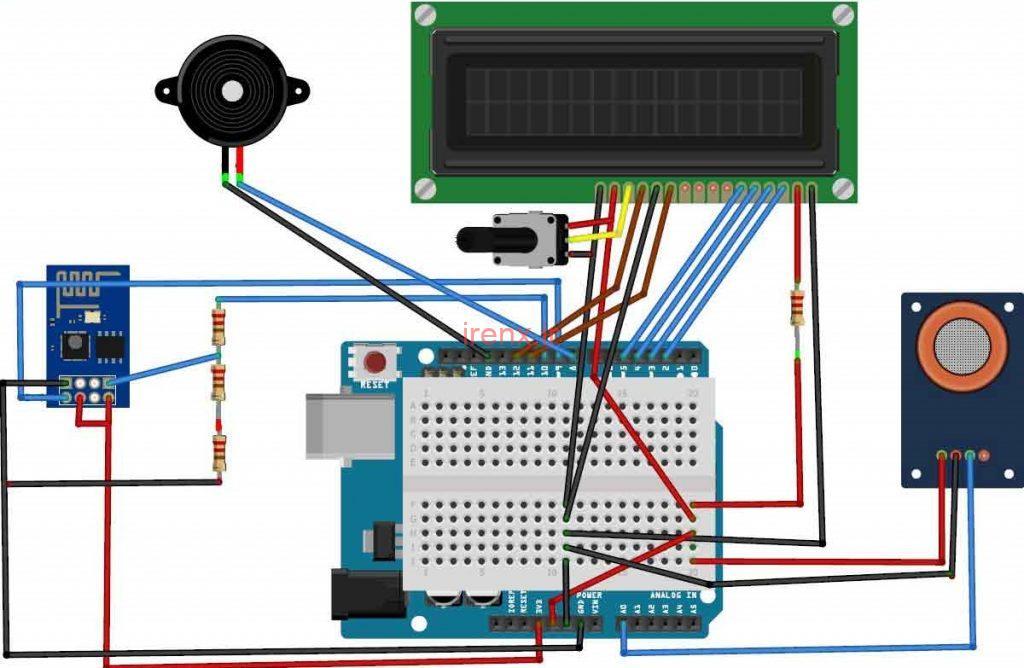 مدار پروژه بررسی آلودگی هوا با آردوینو