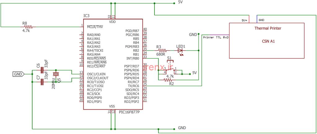 مدار پروژه چاپ متن با پرینتر حرارتی و میکروکنترلر PIC