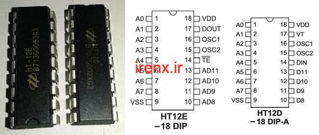 IC دکودر و اینکودر HT12D و HT12E