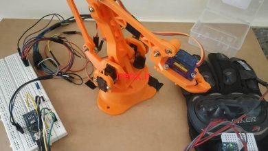 تصویر از دستکش کنترل بازوی رباتیک با آردوینو و سنسور ژیروسکوپ