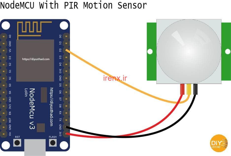 سنسور حرکت با هشدار در موبایل با ماژول ESP8266