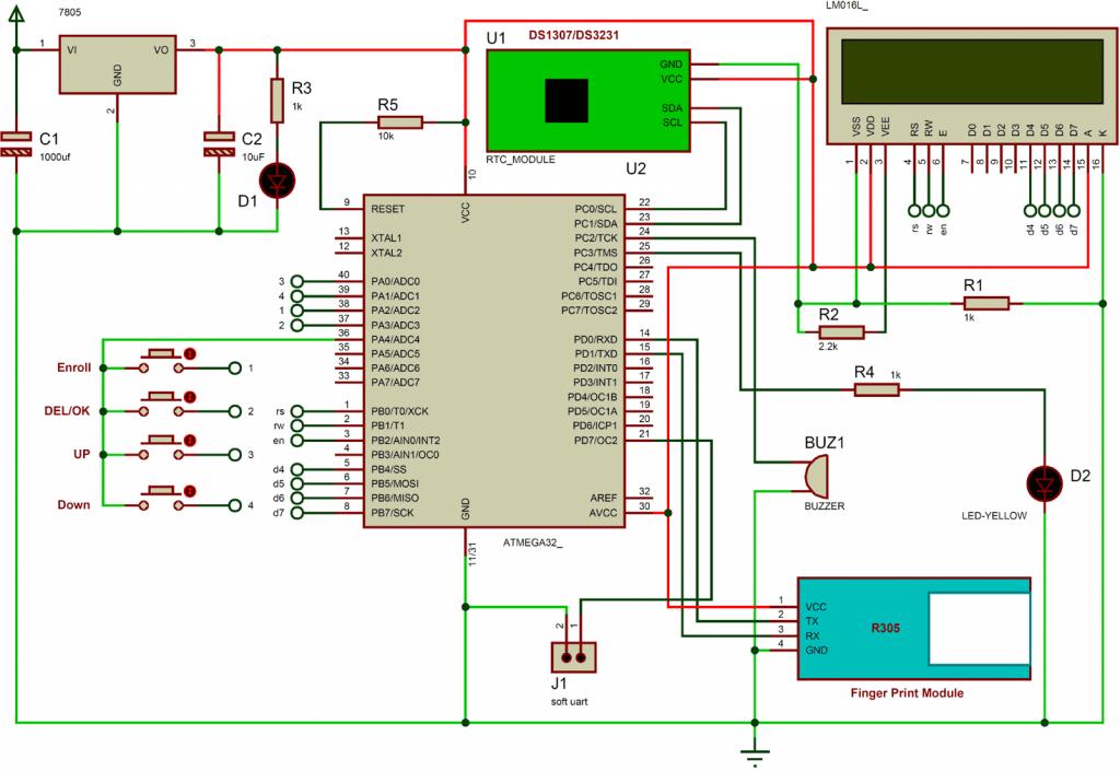 مدار پروژه راه اندازی تشخیص اثر انگشت با AVR
