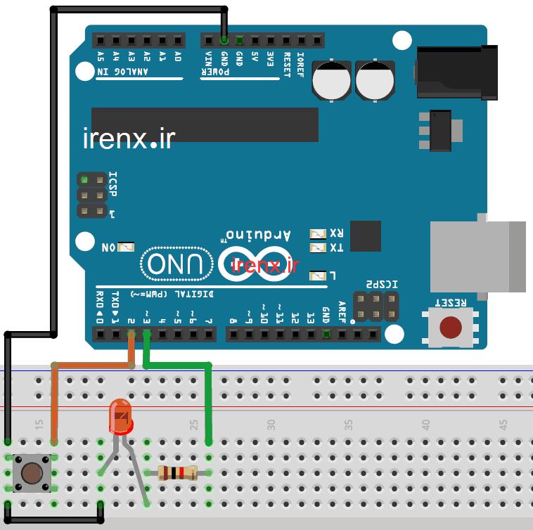 شماتیک مدار پروژه فلاشر LED با آردوینو