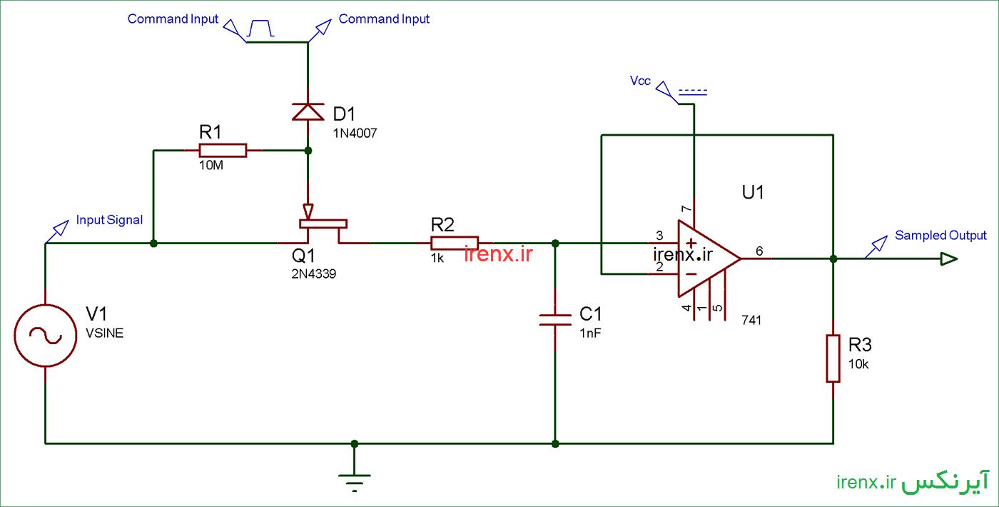 شماتیک مدار و نحوه کار نمونه بردار و نگه دارنده جریان ورودی