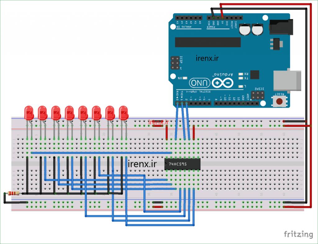 آموزش استفاده از شیفت رجیستر با 74HC595 در Arduino