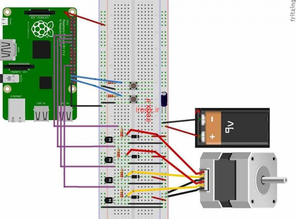 توضیحات شماتیک راه اندازی استپر موتور
