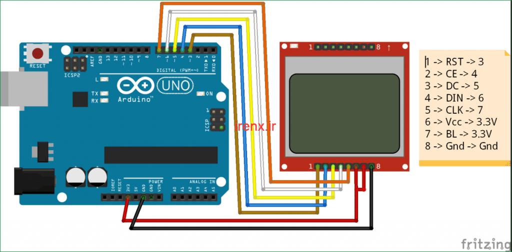 شماتیک مدار راه اندازی LCD گرافیکی