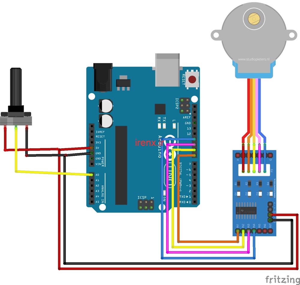 شماتیک مدار پروژه کنترل استپر موتور