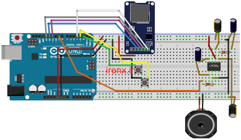 شماتیک پروژه آمپلی فایر MP3 با آردوینو