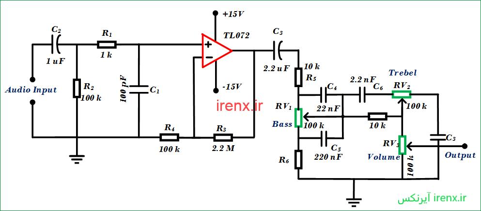شماتیک مدار کنترل بیس ، Treble و میزان بلندی صدا به صورت آنالوگ