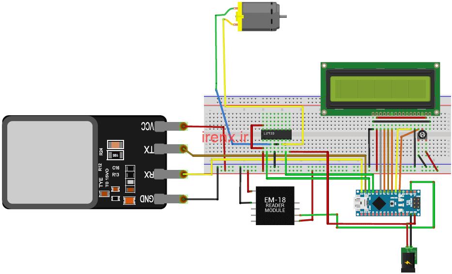 روشن کردن ماشین با سنسور اثر انگشت و تگ آرفید با Arduino