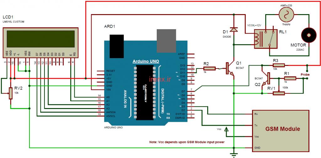 شماتیک کامل مدار پروژه آبیاری خودکار گلخانه Arduino