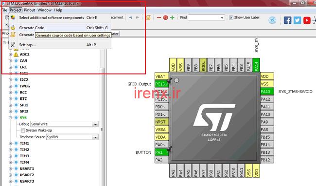 ایجاد کد در Cube MX