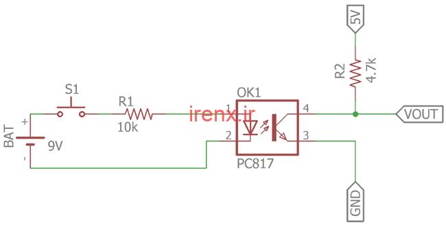 اپتوکوپلر برای تغییر جریان و سوئیچ در مدار DC