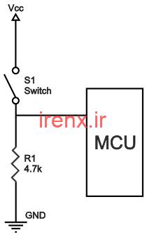 تقسیم ولتاژ برای نویز دکمه وقفه