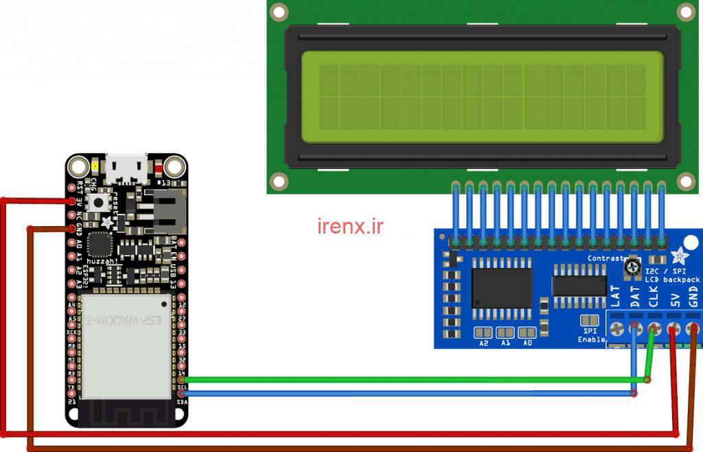 مدار اتصال LCD کاراکتری به ESP32