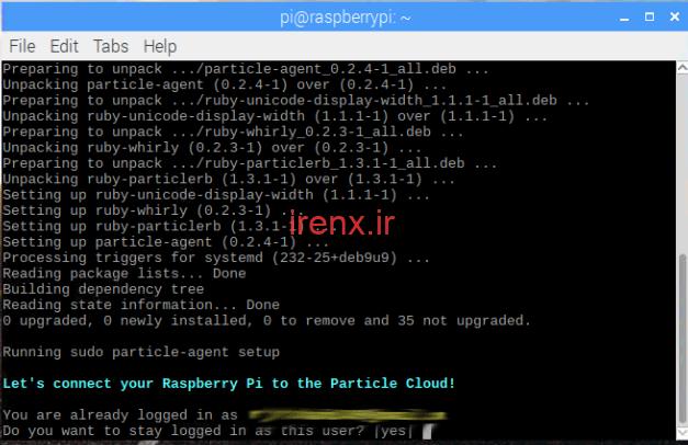 تنظیم حساب Cloud Particle و Raspberry Pi