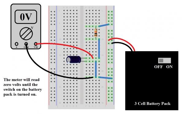 مدار اتصال خازن به باتری