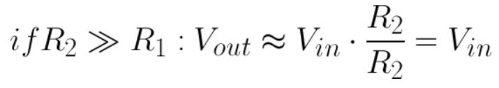 فرمول تقسیم ولتاژ بزرگتر بودن مقاومت R2